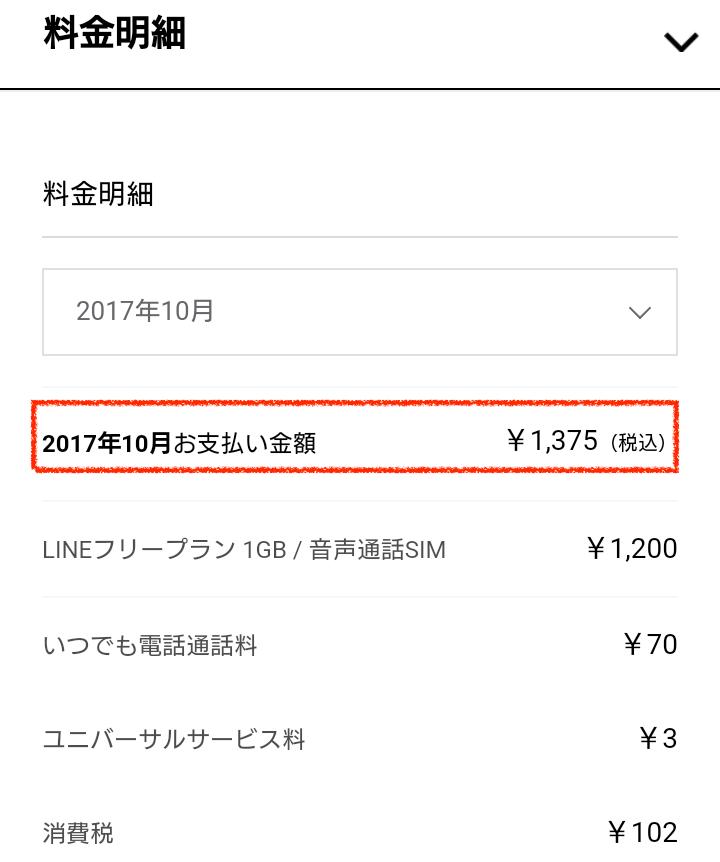 LINEモバイル10月支払い