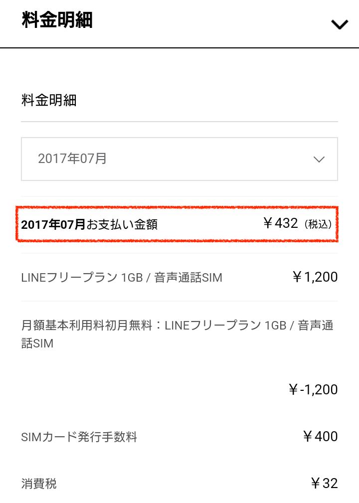 LINEモバイル7月支払い