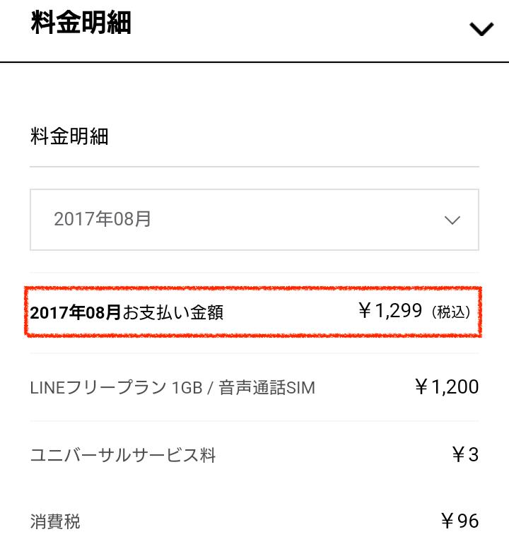 LINEモバイル8月支払い