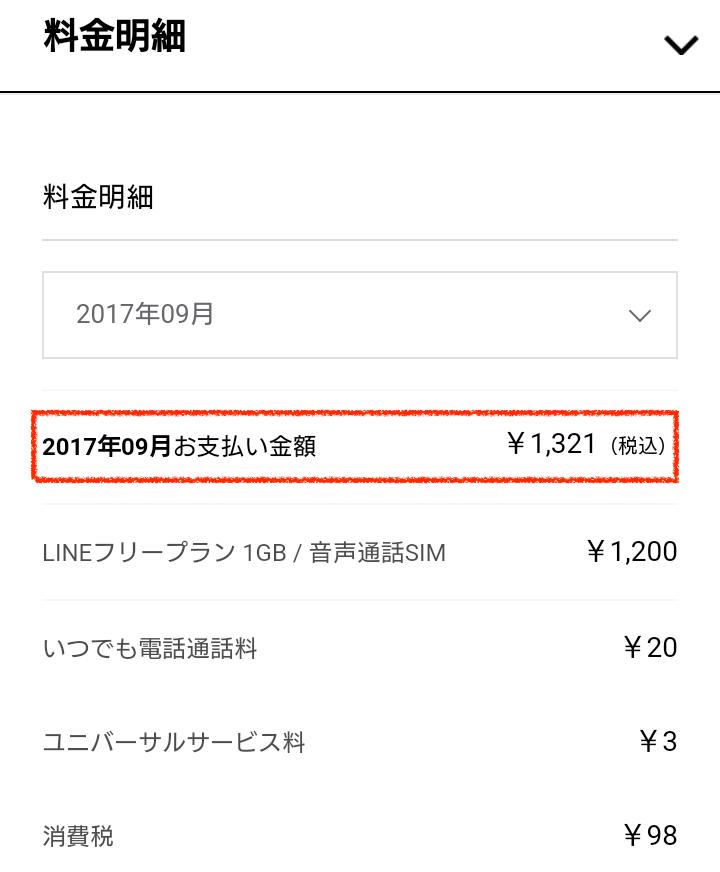 LINEモバイル9月支払い
